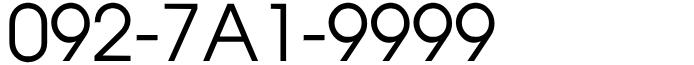 092-7A1-9999 福岡市中央区エリア・天神・大濠・赤坂・薬院・大名・固定電話良番ゾロ目